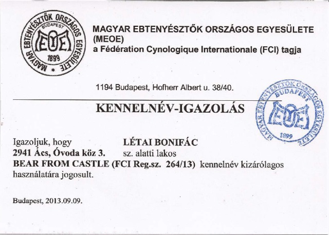 Kennel name certificate
